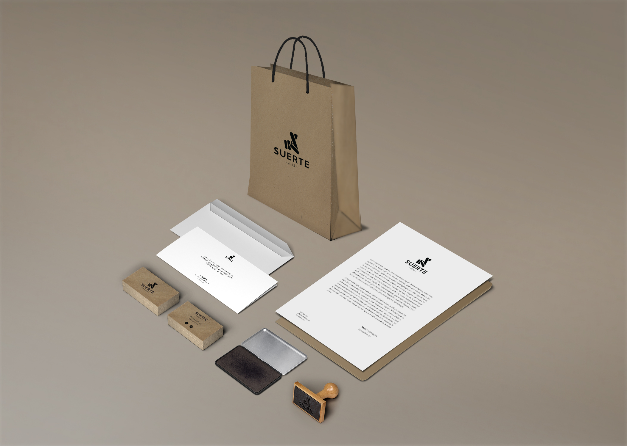 Brand identity corporate suerte mockup business card