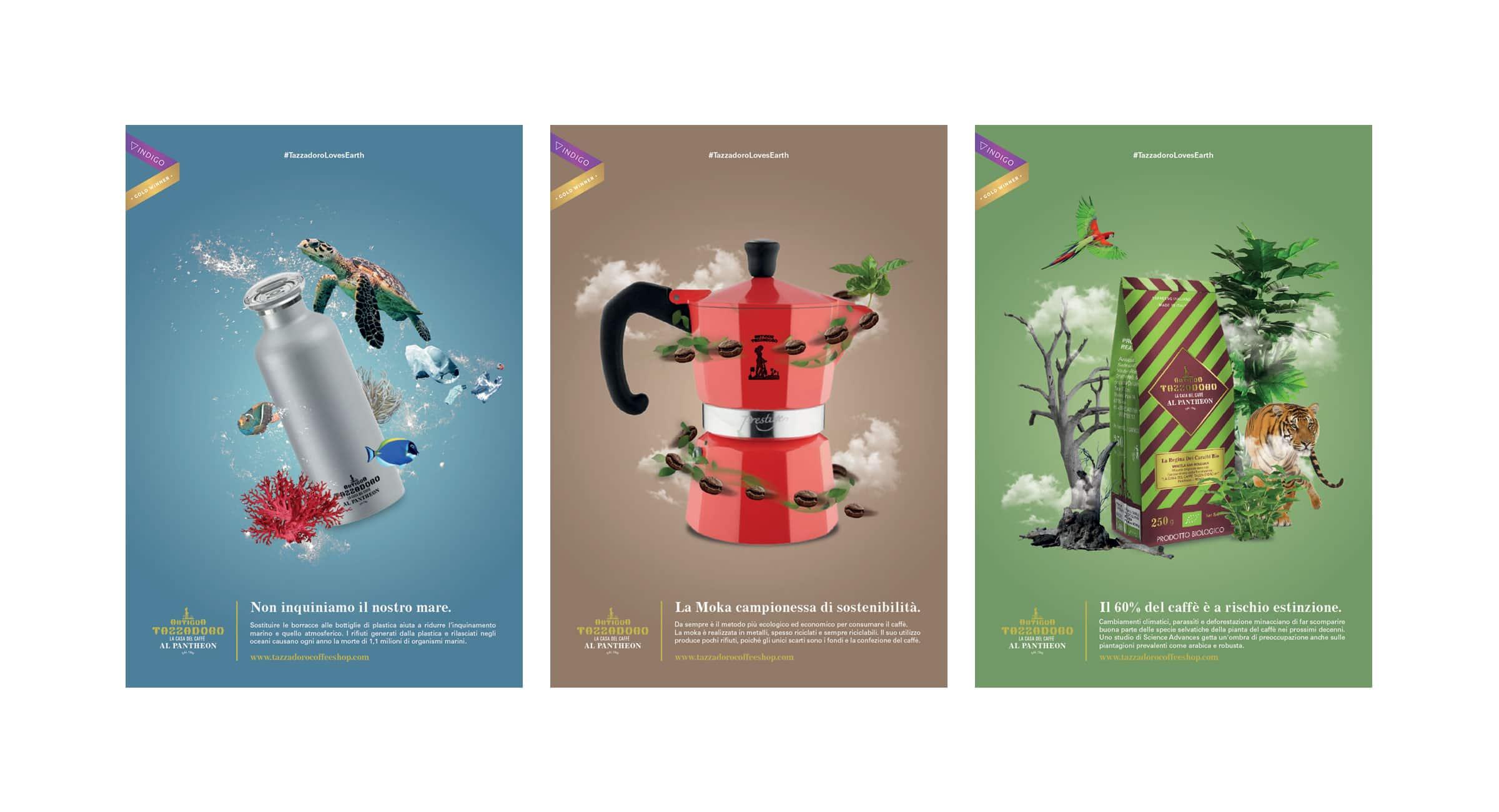 Tre manifesti su sfondo bianco a tema ambientale con una borraccia, una moka e un sacchetto per il caffè su sfondo verde.