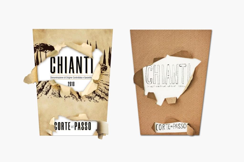 Etichetta di vino Chianti e relativo mockup con strappo