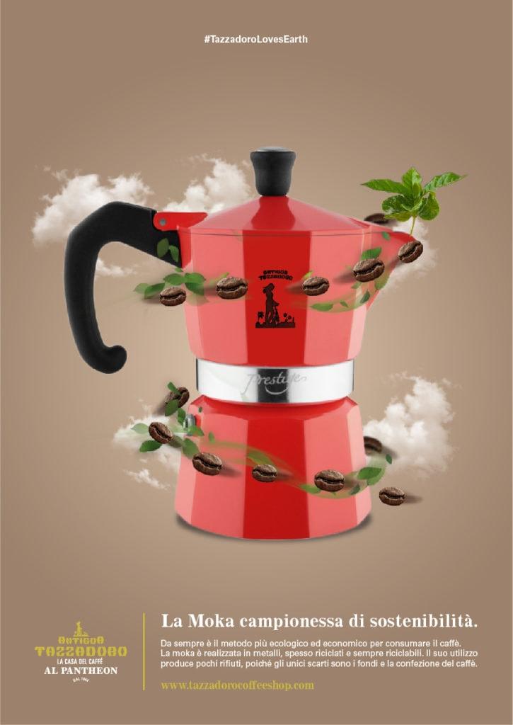 Composizione grafica di una moka con chicchi di caffè e nuvole su sfondo colorato
