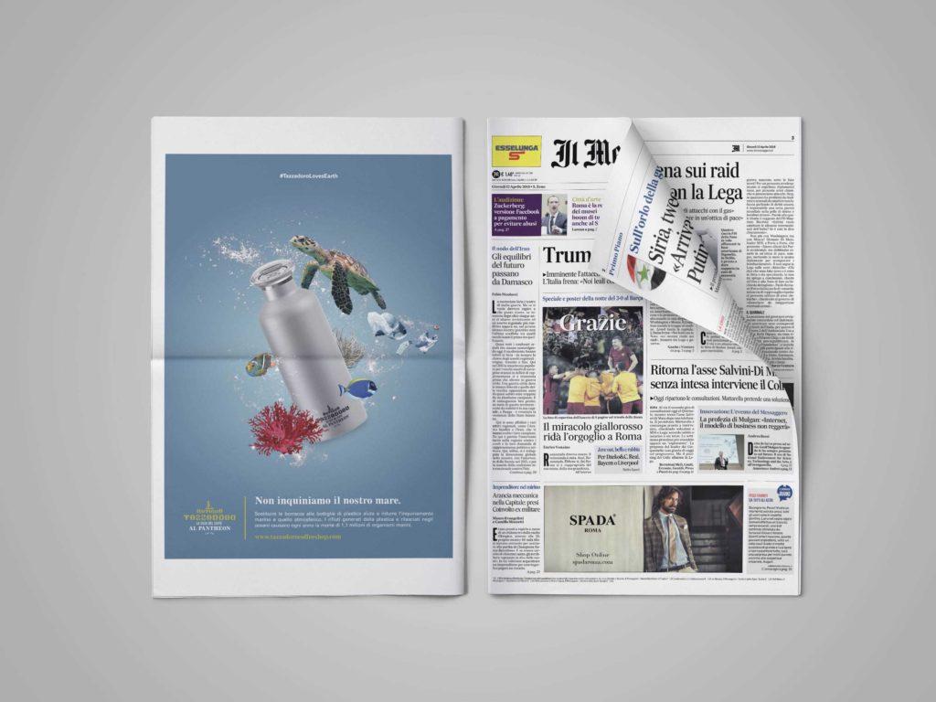 Giornale quotidiano su sfondo grigio