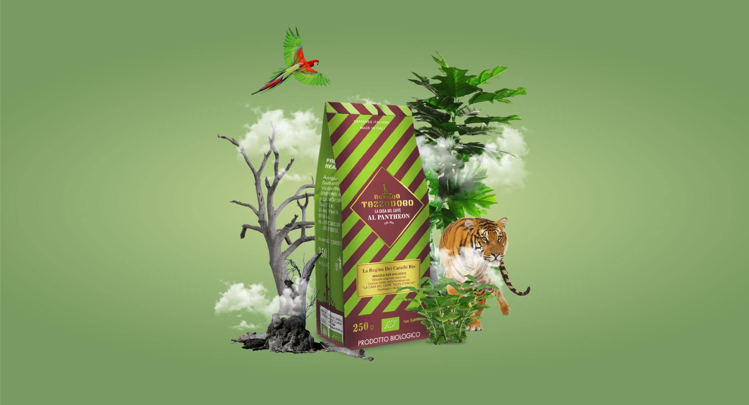 Composizione grafica di un pacchetto di caffè macinato con alberi, piante, una tigre, un pappagallo e nuvole.