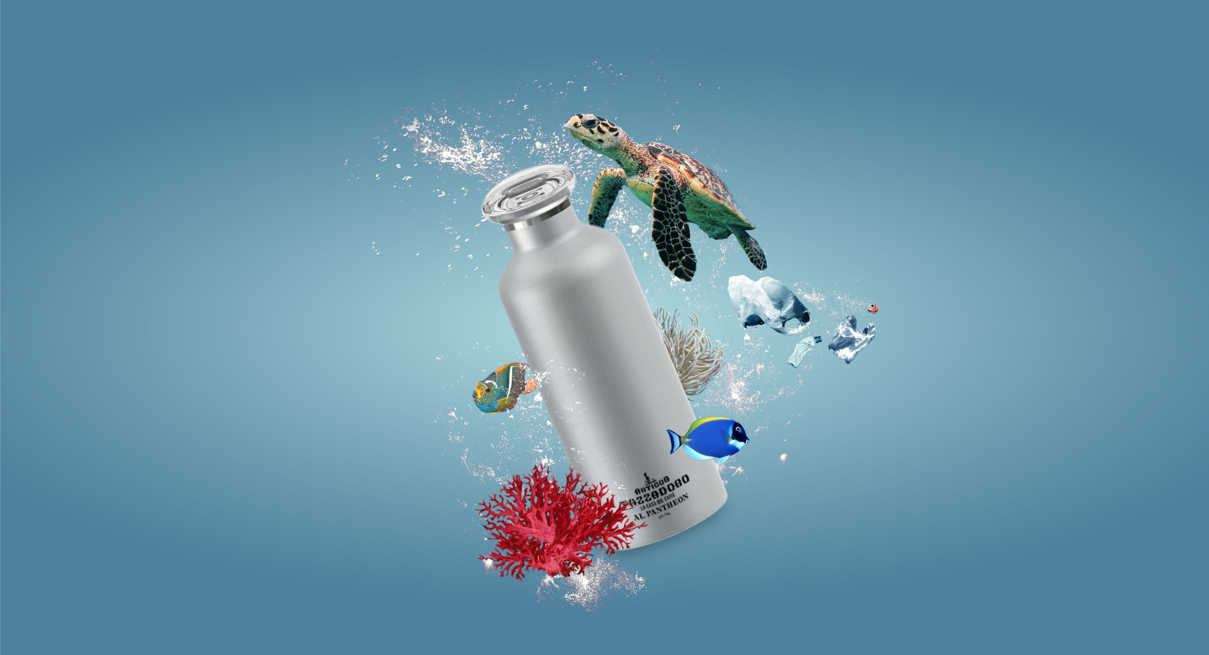 Composizione grafica di una borraccia con bolle d'acqua, una tartaruga, sacche di plastica e pesci.