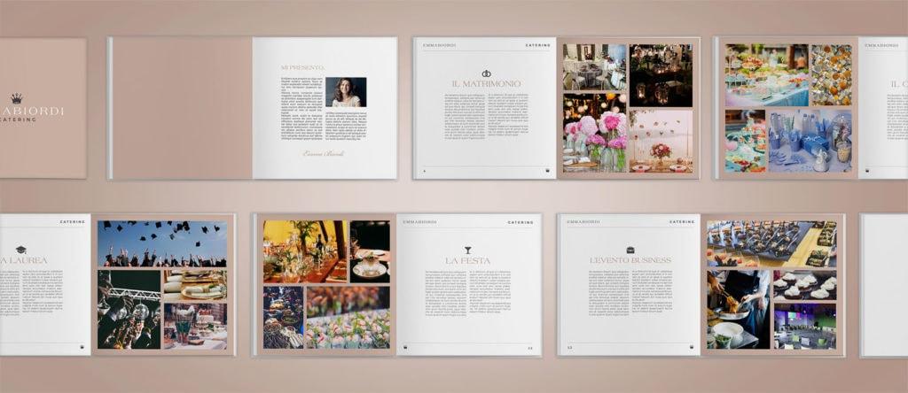 brochure pubblicitaria aperta ed appoggiata su un piano per mostrare le pagine